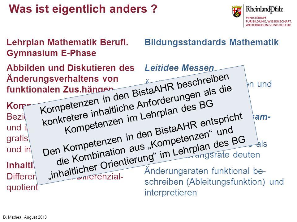 B. Mathea, August 2013 Was ist eigentlich anders ? Abbilden und Diskutieren des Änderungsverhaltens von funktionalen Zus.hängen Kompetenzen: Beziehung