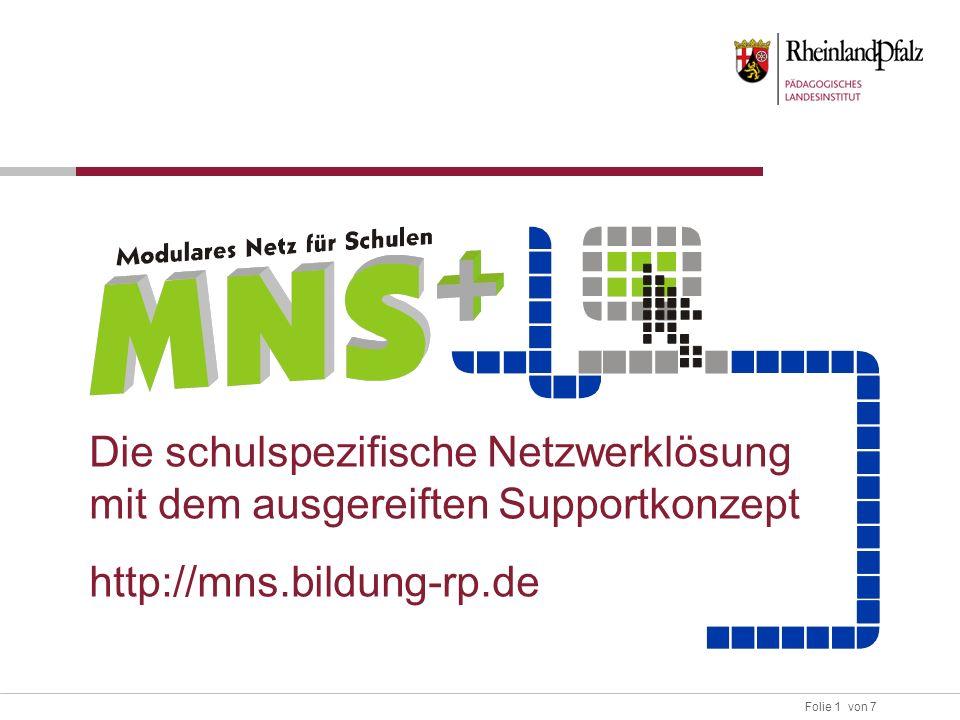 Folie 1 von 7 Die schulspezifische Netzwerklösung mit dem ausgereiften Supportkonzept http://mns.bildung-rp.de
