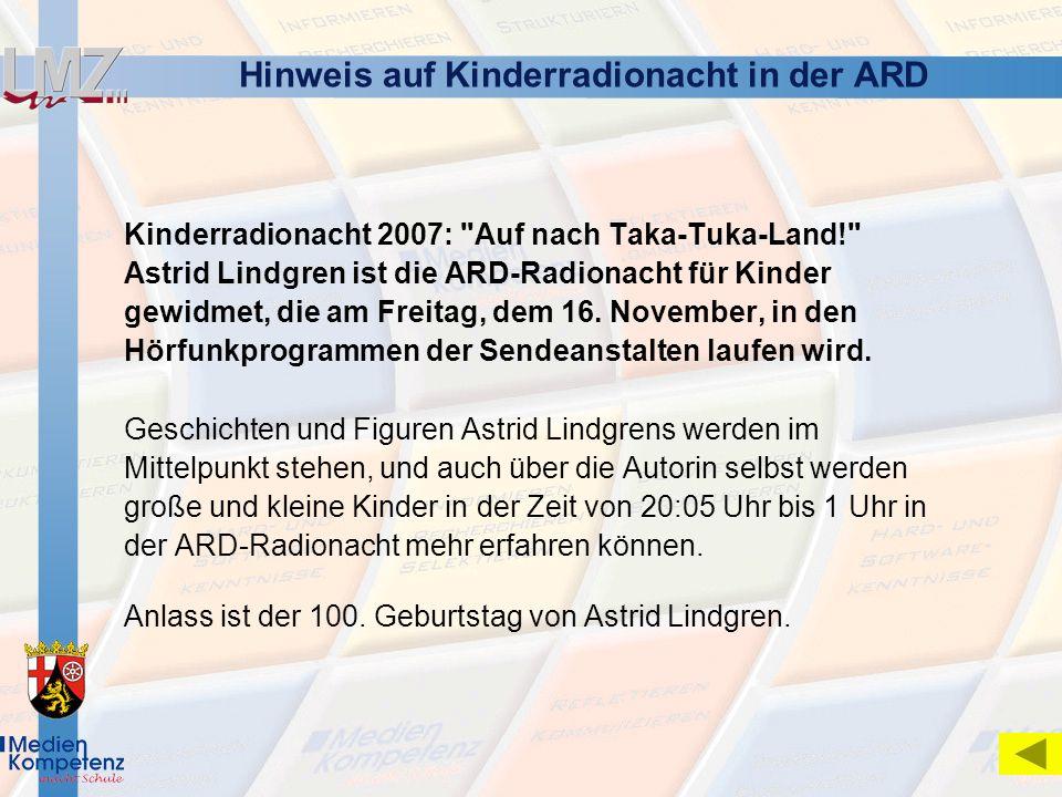 Hinweis auf Kinderradionacht in der ARD Kinderradionacht 2007: