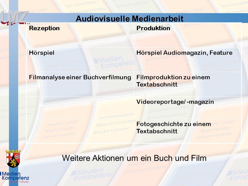 RezeptionProduktion HörspielHörspiel Audiomagazin, Feature Filmanalyse einer BuchverfilmungFilmproduktion zu einem Textabschnitt Videoreportage/ -maga