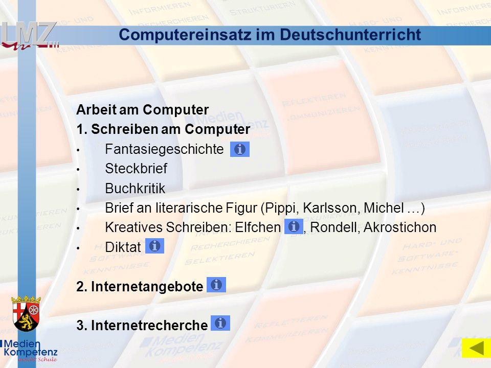 Computereinsatz im Deutschunterricht Arbeit am Computer 1. Schreiben am Computer Fantasiegeschichte Steckbrief Buchkritik Brief an literarische Figur