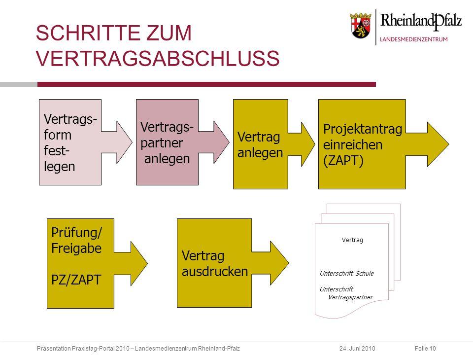 Folie 10Präsentation Praxistag-Portal 2010 – Landesmedienzentrum Rheinland-Pfalz24. Juni 2010 SCHRITTE ZUM VERTRAGSABSCHLUSS Vertrags- partner anlegen