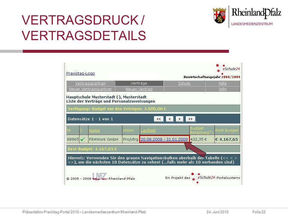 Folie 22Präsentation Praxistag-Portal 2010 – Landesmedienzentrum Rheinland-Pfalz24. Juni 2010 VERTRAGSDRUCK / VERTRAGSDETAILS