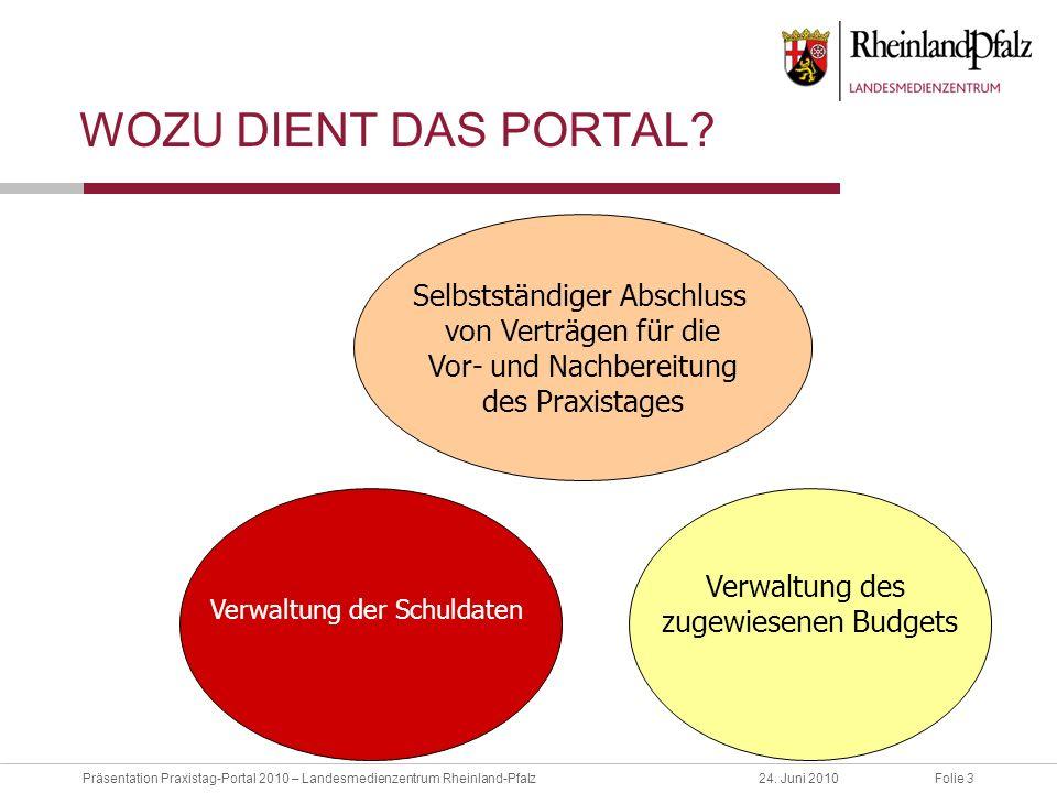 Folie 3Präsentation Praxistag-Portal 2010 – Landesmedienzentrum Rheinland-Pfalz24. Juni 2010 WOZU DIENT DAS PORTAL? Verwaltung der Schuldaten Selbstst