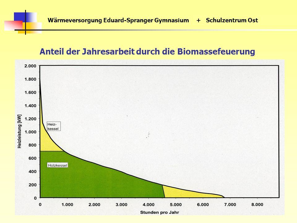 Wärmeversorgung Eduard-Spranger Gymnasium+ Schulzentrum Ost Anteil der Jahresarbeit durch die Biomassefeuerung