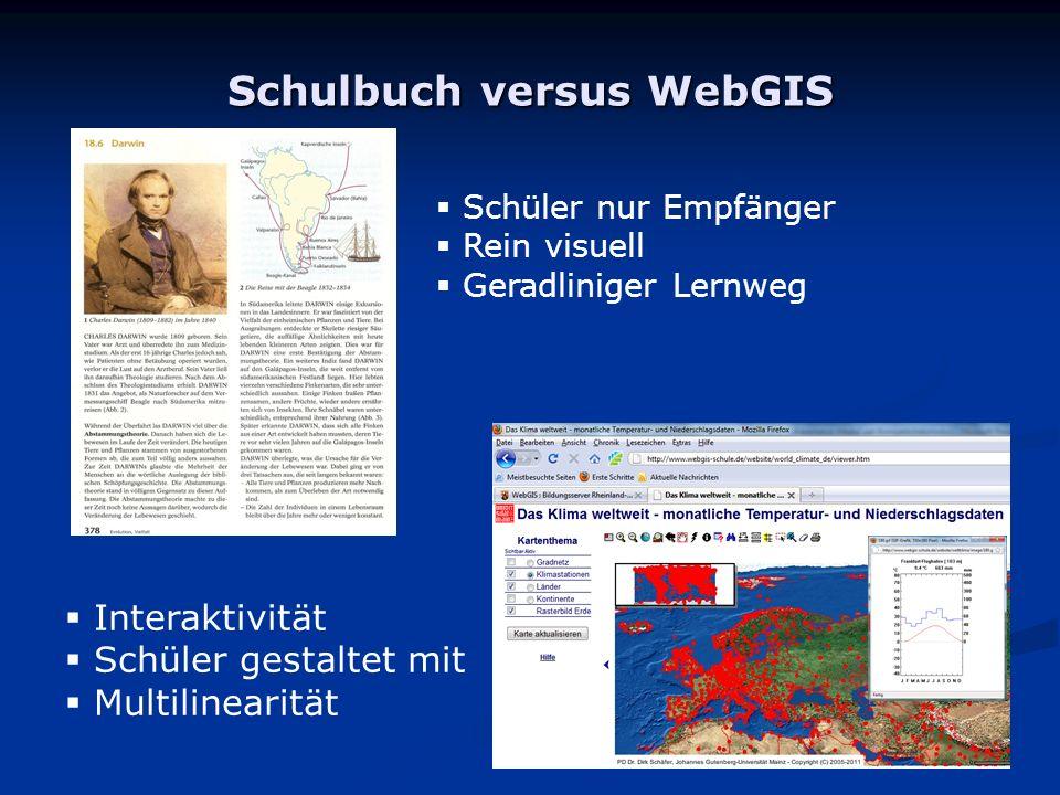 Schulbuch versus WebGIS Interaktivität Schüler gestaltet mit Multilinearität Schüler nur Empfänger Rein visuell Geradliniger Lernweg