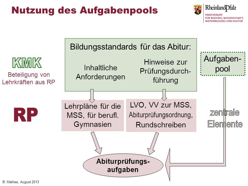 B. Mathea, August 2013 Bildungsstandards für das Abitur: Inhaltliche Anforderungen Hinweise zur Prüfungsdurch- führung Lehrpläne für die MSS, für beru
