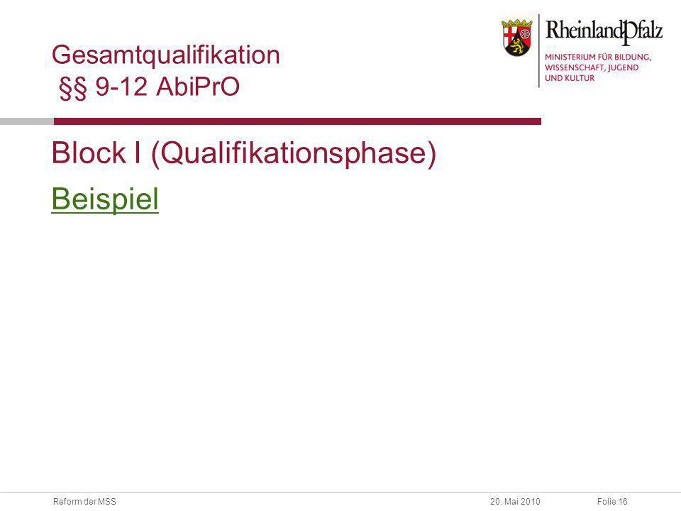 Folie 16Reform der MSS20. Mai 2010 Gesamtqualifikation §§ 9-12 AbiPrO Block I (Qualifikationsphase) Beispiel