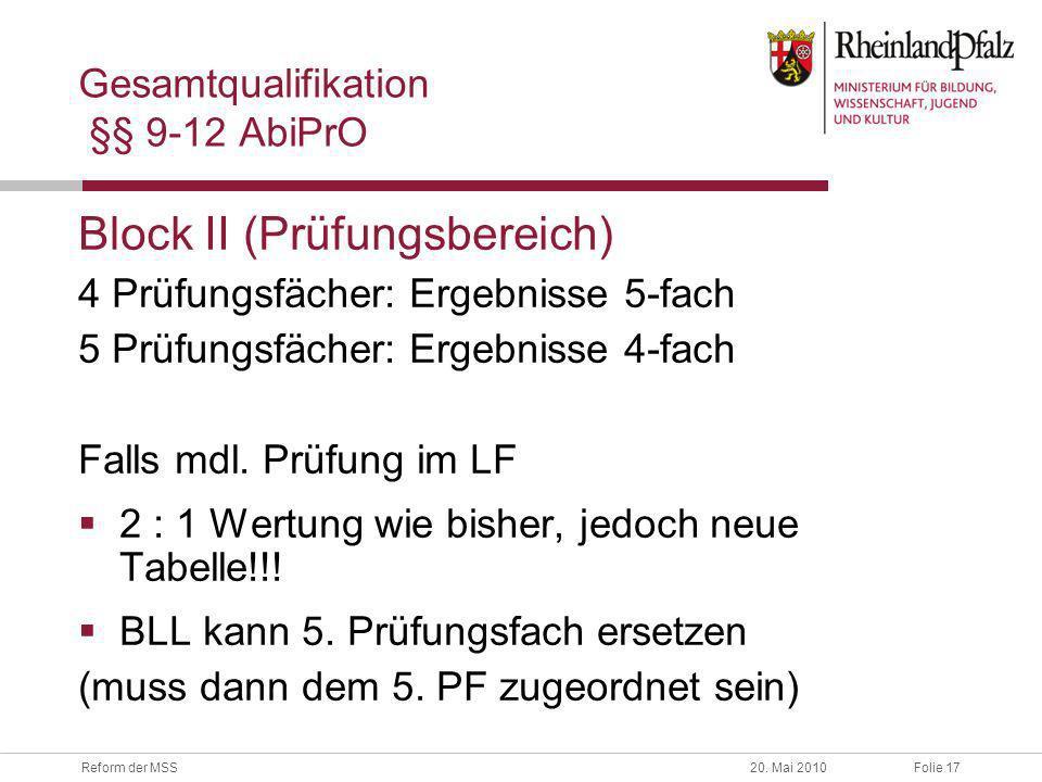 Folie 17Reform der MSS20. Mai 2010 Gesamtqualifikation §§ 9-12 AbiPrO Block II (Prüfungsbereich) 4 Prüfungsfächer: Ergebnisse 5-fach 5 Prüfungsfächer: