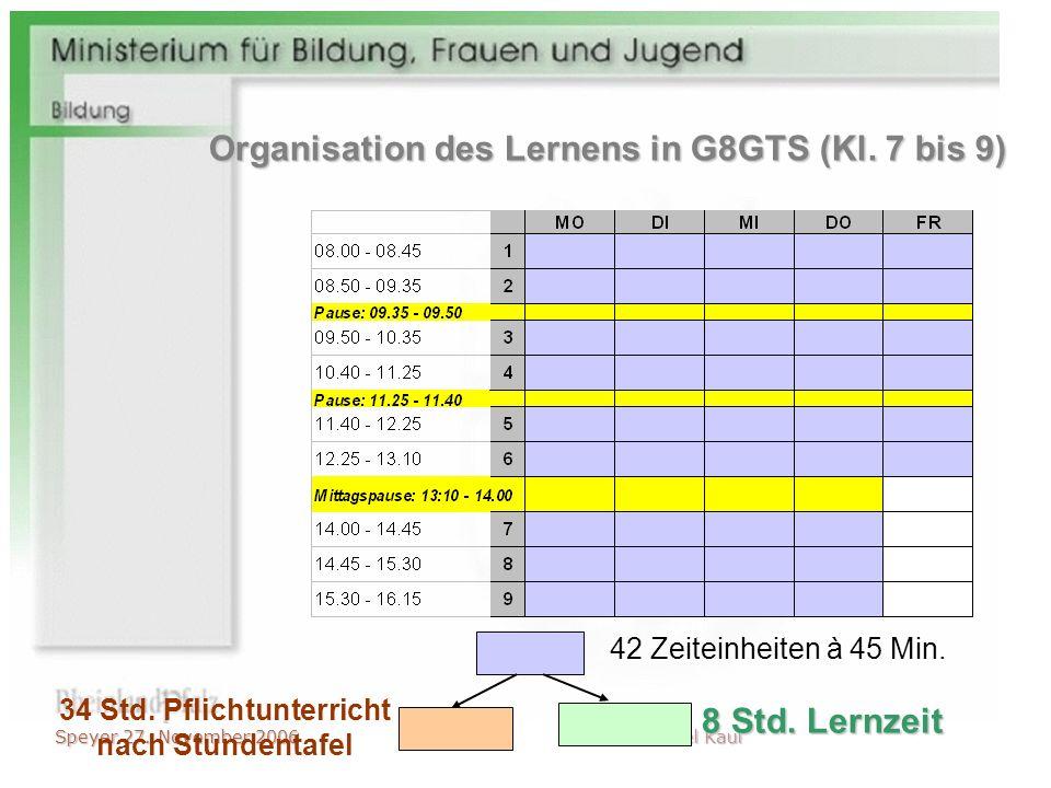 Speyer 27. November 2006 Michael Kaul 42 Zeiteinheiten à 45 Min. 34 Std. Pflichtunterricht nach Stundentafel 8 Std. Lernzeit Organisation des Lernens