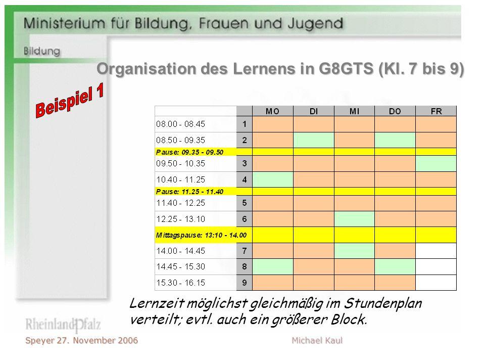 Speyer 27. November 2006 Michael Kaul Lernzeit möglichst gleichmäßig im Stundenplan verteilt; evtl. auch ein größerer Block. Organisation des Lernens