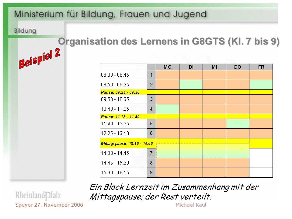 Speyer 27. November 2006 Michael Kaul Ein Block Lernzeit im Zusammenhang mit der Mittagspause; der Rest verteilt. Organisation des Lernens in G8GTS (K
