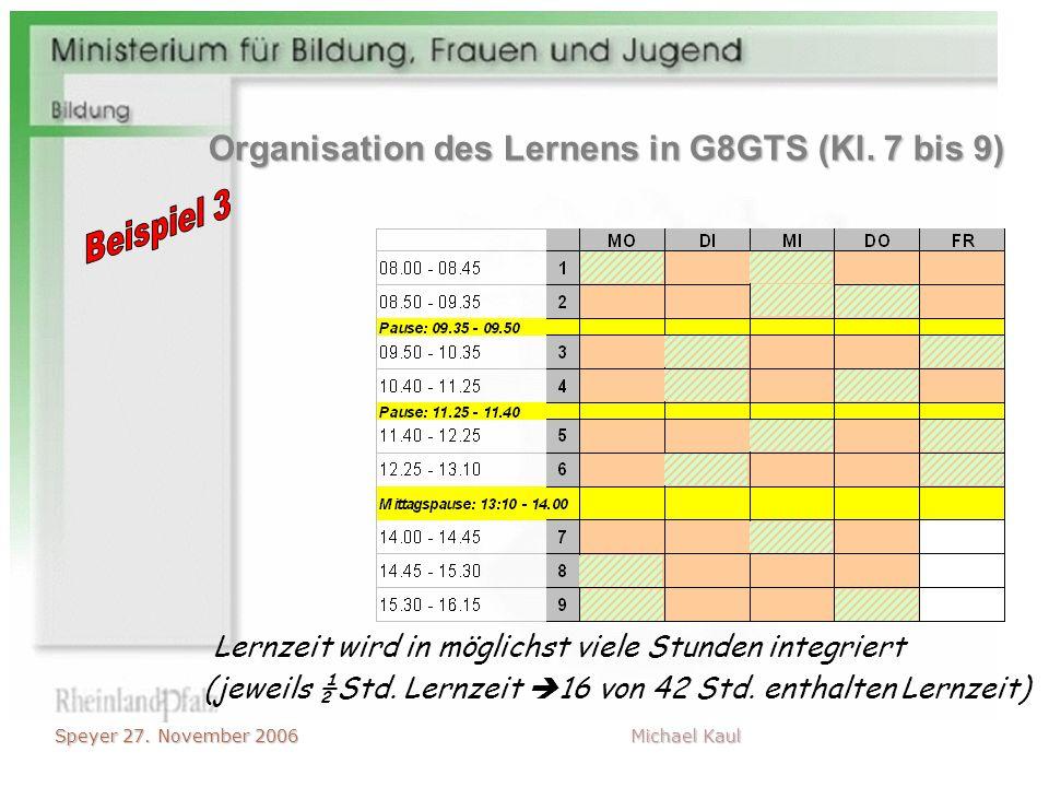 Speyer 27. November 2006 Michael Kaul (jeweils ½Std. Lernzeit 16 von 42 Std. enthalten Lernzeit) Lernzeit wird in möglichst viele Stunden integriert O