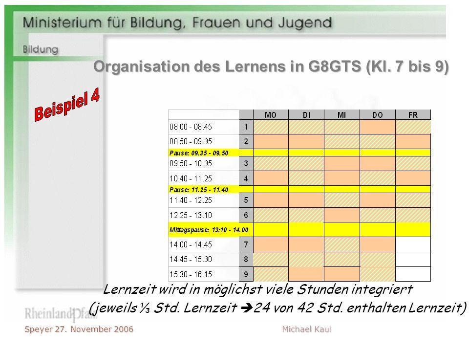 Speyer 27. November 2006 Michael Kaul (jeweils Std. Lernzeit 24 von 42 Std. enthalten Lernzeit) Lernzeit wird in möglichst viele Stunden integriert Or