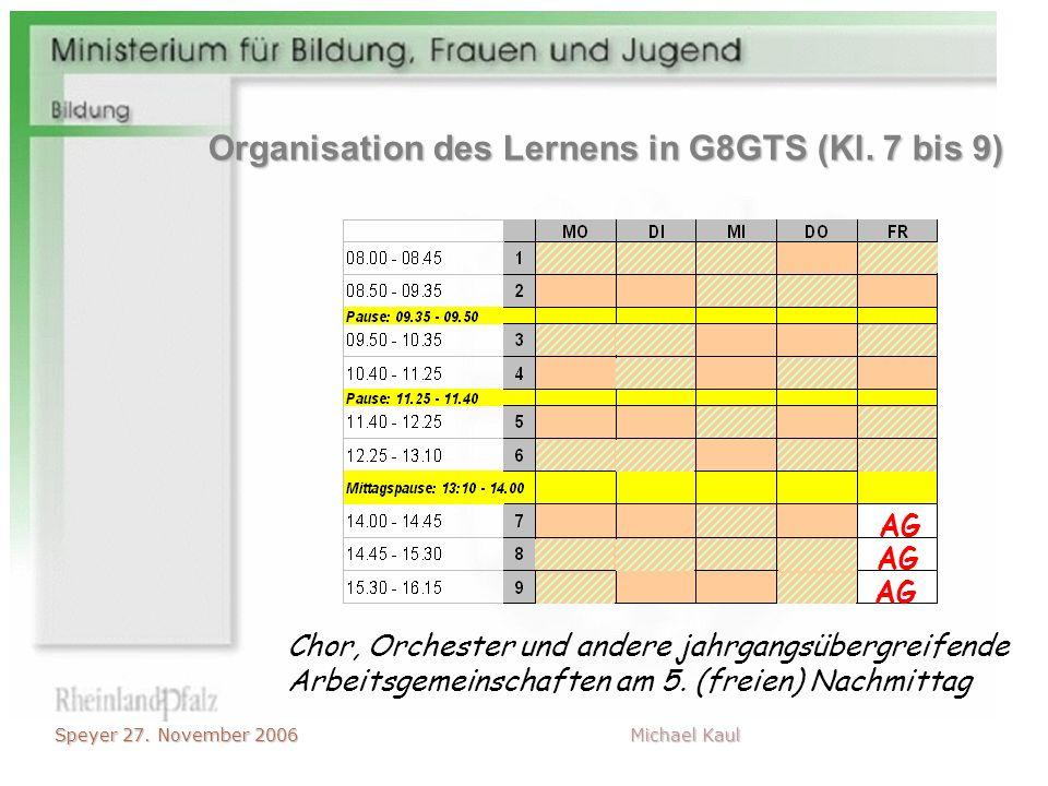 Speyer 27. November 2006 Michael Kaul Chor, Orchester und andere jahrgangsübergreifende Arbeitsgemeinschaften am 5. (freien) Nachmittag AG Organisatio
