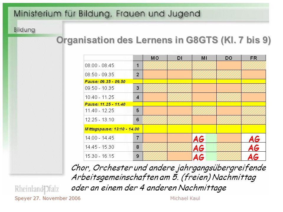 Speyer 27. November 2006 Michael Kaul Chor, Orchester und andere jahrgangsübergreifende Arbeitsgemeinschaften am 5. (freien) Nachmittag AG oder an ein