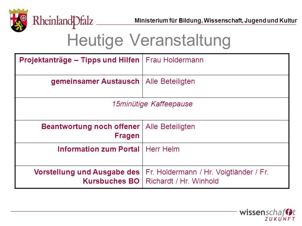 Ministerium für Bildung, Wissenschaft, Jugend und Kultur Heutige Veranstaltung Projektanträge – Tipps und HilfenFrau Holdermann gemeinsamer AustauschA