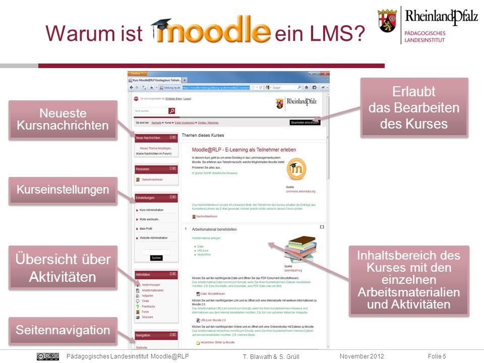 Folie 5November 2012Pädagogisches Landesinstitut Moodle@RLP T. Blawath & S. Grüll Warum ist ein LMS? Erlaubt das Bearbeiten des Kurses Inhaltsbereich