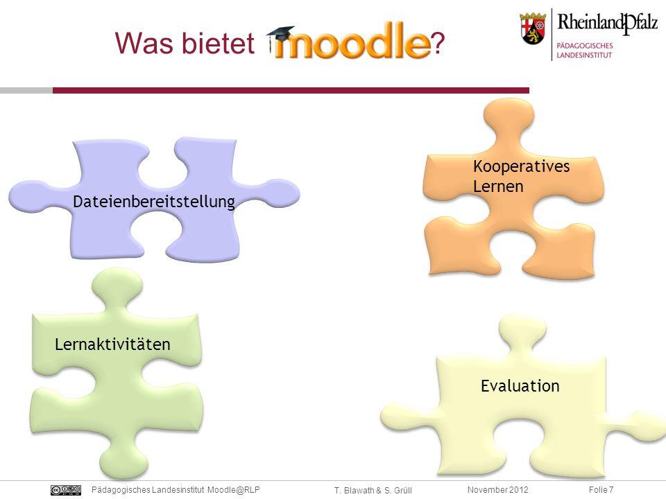 Folie 7November 2012Pädagogisches Landesinstitut Moodle@RLP T. Blawath & S. Grüll Dateienbereitstellung Kooperatives Lernen Lernaktivitäten Evaluation