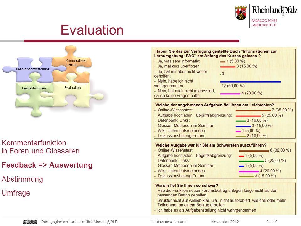 Folie 9November 2012Pädagogisches Landesinstitut Moodle@RLP T. Blawath & S. Grüll Evaluation Kommentarfunktion in Foren und Glossaren Feedback => Ausw