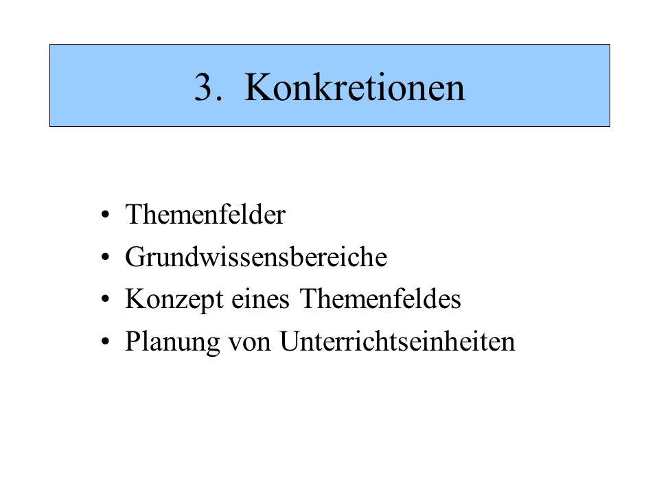 3. Konkretionen Themenfelder Grundwissensbereiche Konzept eines Themenfeldes Planung von Unterrichtseinheiten