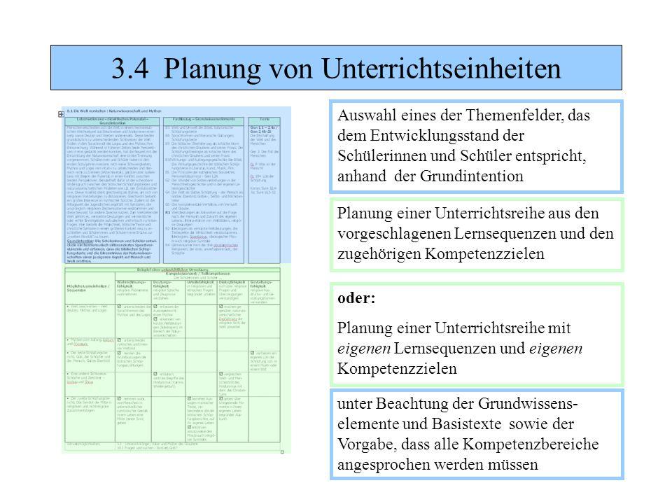 3.4 Planung von Unterrichtseinheiten Auswahl eines der Themenfelder, das dem Entwicklungsstand der Schülerinnen und Schüler entspricht, anhand der Gru
