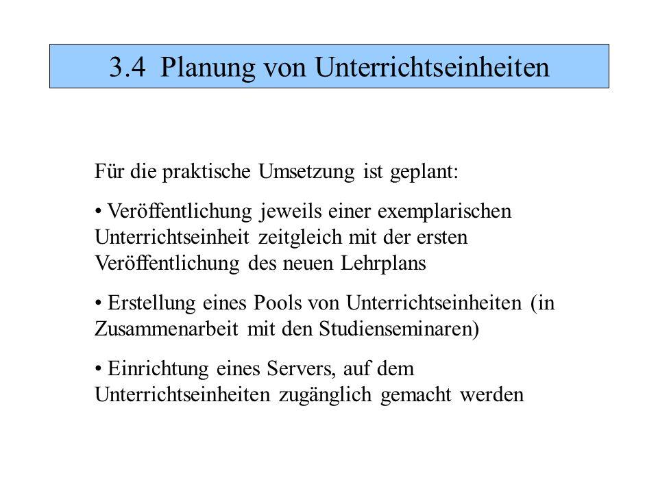 3.4 Planung von Unterrichtseinheiten Für die praktische Umsetzung ist geplant: Veröffentlichung jeweils einer exemplarischen Unterrichtseinheit zeitgl
