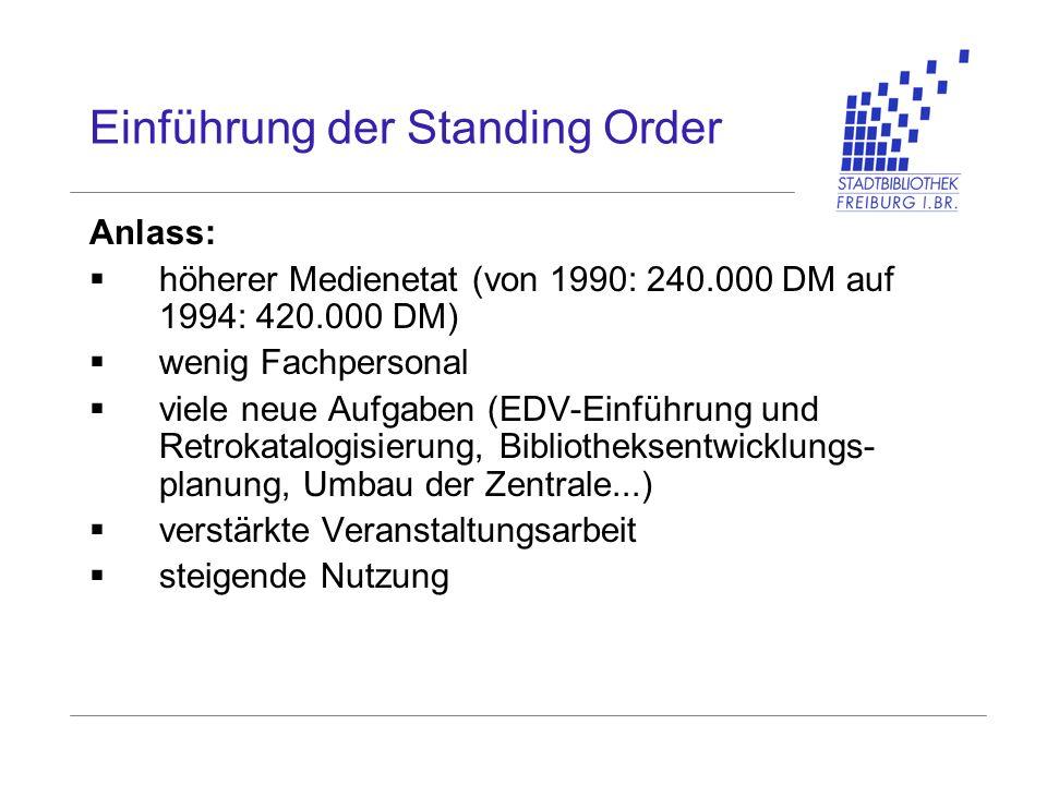 Einführung der Standing Order Anlass: höherer Medienetat (von 1990: 240.000 DM auf 1994: 420.000 DM) wenig Fachpersonal viele neue Aufgaben (EDV-Einfü