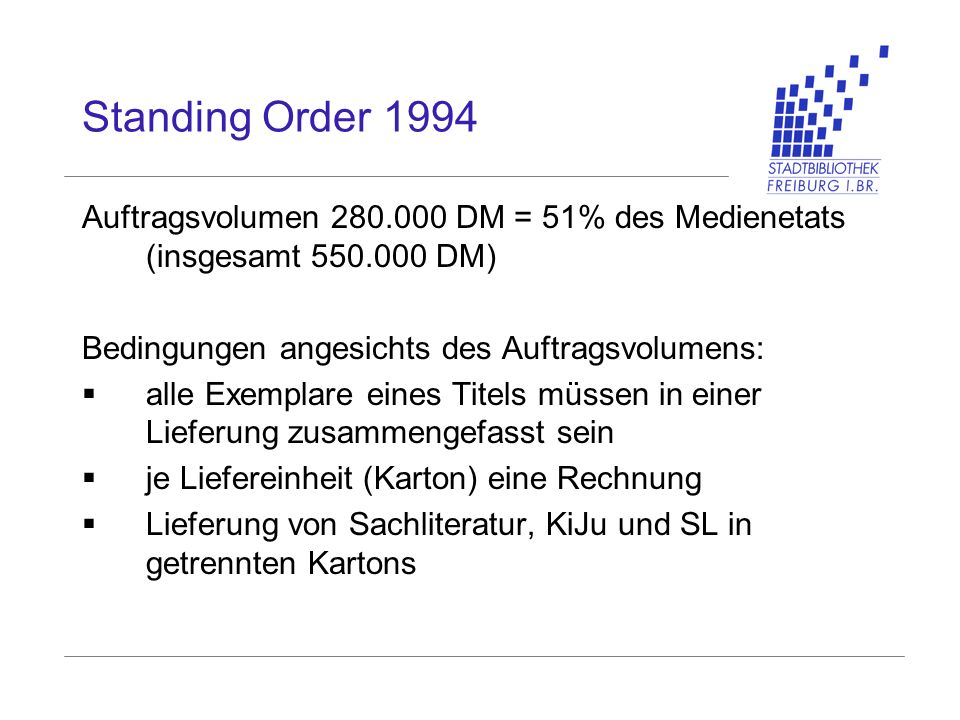Standing Order 1994 Auftragsvolumen 280.000 DM = 51% des Medienetats (insgesamt 550.000 DM) Bedingungen angesichts des Auftragsvolumens: alle Exemplar