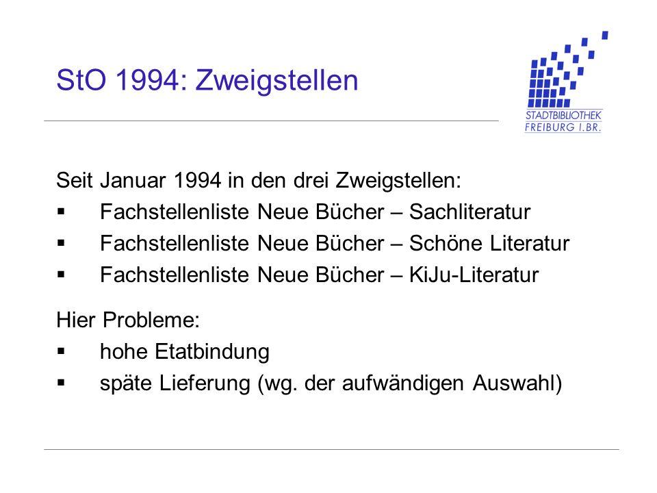 StO 1994: Zweigstellen Seit Januar 1994 in den drei Zweigstellen: Fachstellenliste Neue Bücher – Sachliteratur Fachstellenliste Neue Bücher – Schöne L