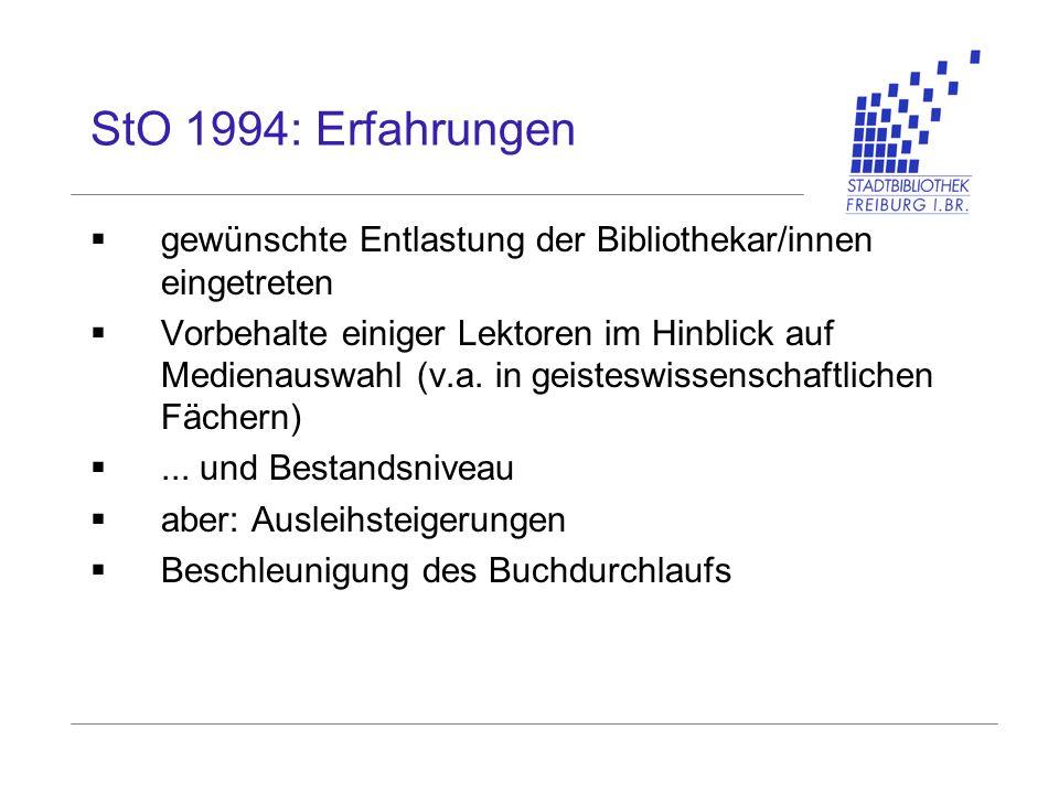 StO 1994: Erfahrungen gewünschte Entlastung der Bibliothekar/innen eingetreten Vorbehalte einiger Lektoren im Hinblick auf Medienauswahl (v.a. in geis