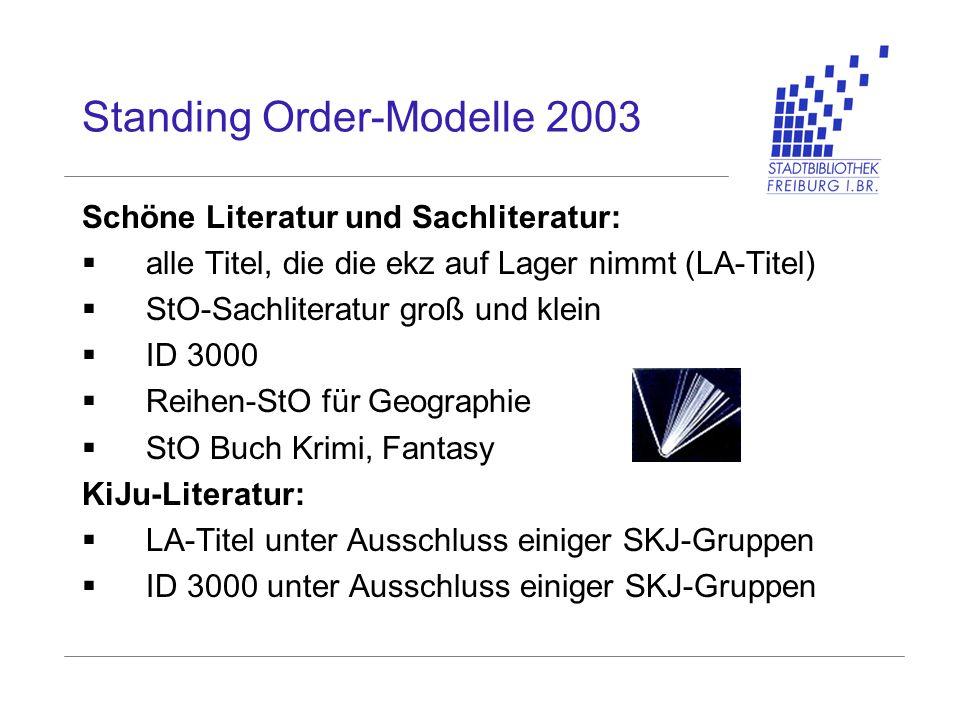 Standing Order-Modelle 2003 Schöne Literatur und Sachliteratur: alle Titel, die die ekz auf Lager nimmt (LA-Titel) StO-Sachliteratur groß und klein ID