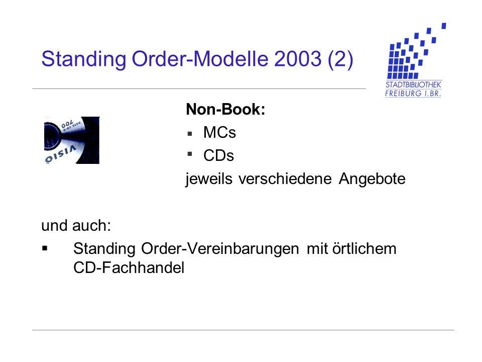 Standing Order-Modelle 2003 (2) Non-Book: MCs CDs jeweils verschiedene Angebote und auch: Standing Order-Vereinbarungen mit örtlichem CD-Fachhandel