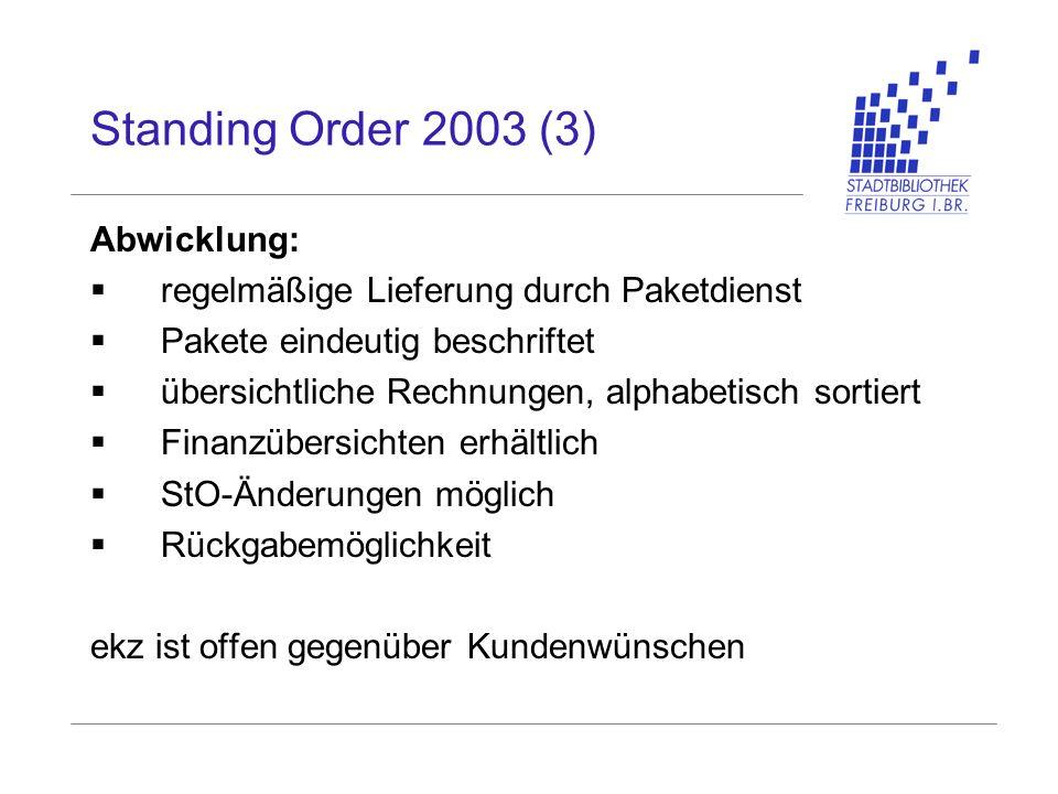 Standing Order 2003 (3) Abwicklung: regelmäßige Lieferung durch Paketdienst Pakete eindeutig beschriftet übersichtliche Rechnungen, alphabetisch sorti