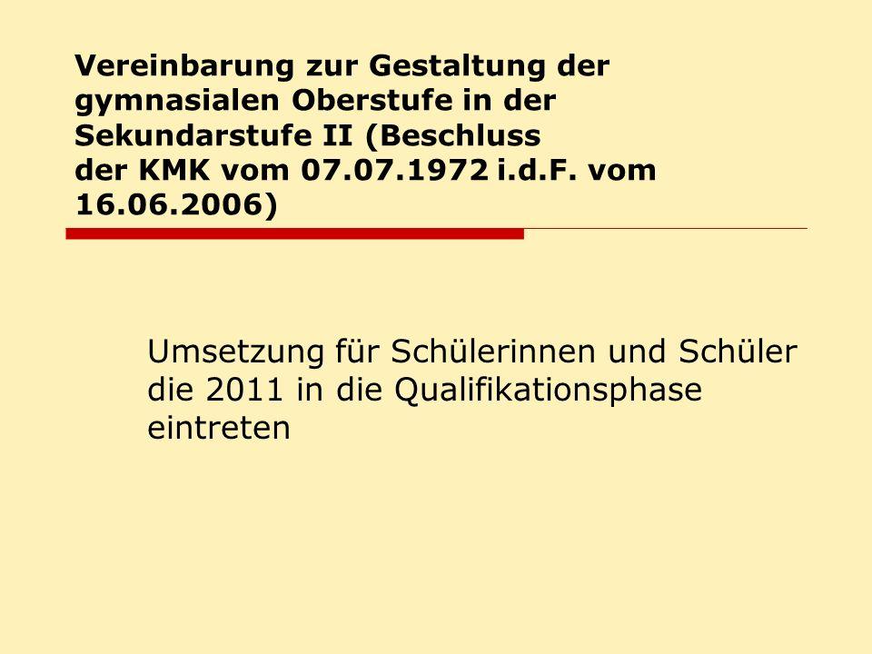 Vereinbarung zur Gestaltung der gymnasialen Oberstufe in der Sekundarstufe II (Beschluss der KMK vom 07.07.1972 i.d.F.