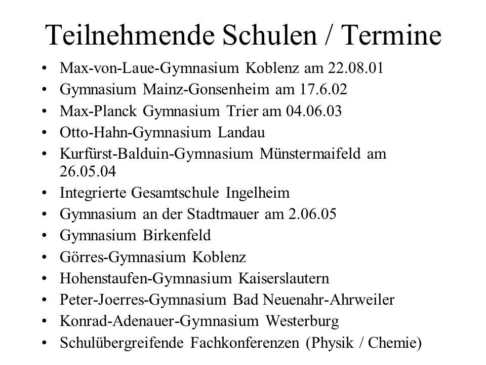 Teilnehmende Schulen / Termine Max-von-Laue-Gymnasium Koblenz am 22.08.01 Gymnasium Mainz-Gonsenheim am 17.6.02 Max-Planck Gymnasium Trier am 04.06.03