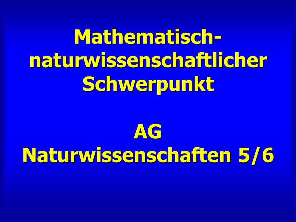 Mathematisch- naturwissenschaftlicher Schwerpunkt AG Naturwissenschaften 5/6