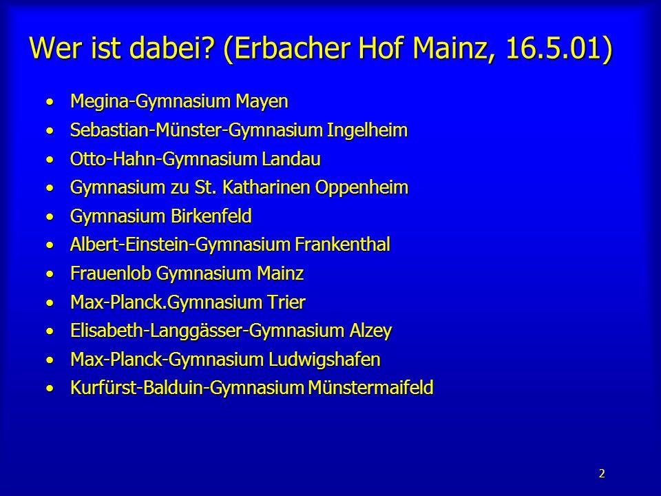 2 Megina-Gymnasium MayenMegina-Gymnasium Mayen Sebastian-Münster-Gymnasium IngelheimSebastian-Münster-Gymnasium Ingelheim Otto-Hahn-Gymnasium LandauOtto-Hahn-Gymnasium Landau Gymnasium zu St.