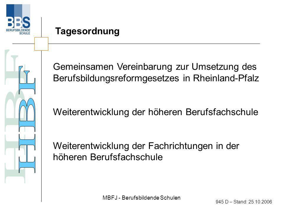 MBFJ - Berufsbildende Schulen 945 D – Stand: 25.10.2006 Gemeinsamen Vereinbarung zur Umsetzung des Berufsbildungsreformgesetzes in Rheinland-Pfalz Anrechnung von Bildungsleistungen bei Seitenausstieg aus der höheren Berufsfachschule Ziel ist es, Schülerinnen und Schülern nach dem ersten Jahr des Besuchs der höheren Berufsfachschule einen Seitenausstieg mit voller Anrechnung (ein Jahr) auf eine anschließende einschlägige Berufsausbildung zu ermöglichen.