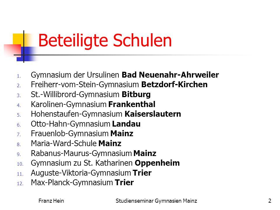 Franz HeinStudienseminar Gymnasien Mainz2 Beteiligte Schulen 1. Gymnasium der Ursulinen Bad Neuenahr-Ahrweiler 2. Freiherr-vom-Stein-Gymnasium Betzdor