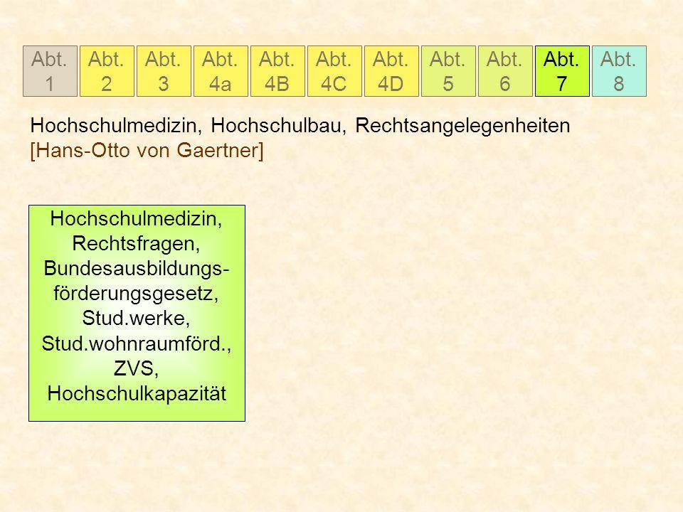 Abt. 1 Abt. 2 Abt. 3 Abt. 4a Abt. 4B Abt. 4C Abt. 5 Abt. 6 Abt. 7 Abt. 8 Abt. 4D Hochschulmedizin, Hochschulbau, Rechtsangelegenheiten [Hans-Otto von
