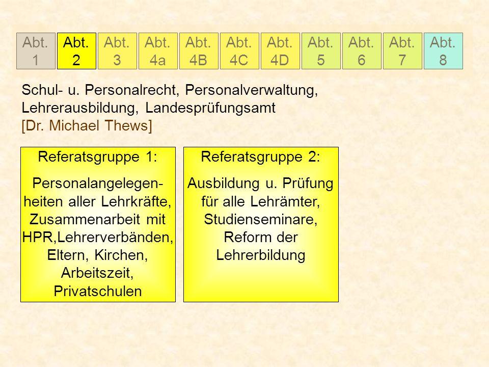 Abt. 1 Abt. 2 Abt. 3 Abt. 4a Abt. 4B Abt. 4C Abt. 5 Abt. 6 Abt. 7 Abt. 8 Abt. 4D Schul- u. Personalrecht, Personalverwaltung, Lehrerausbildung, Landes
