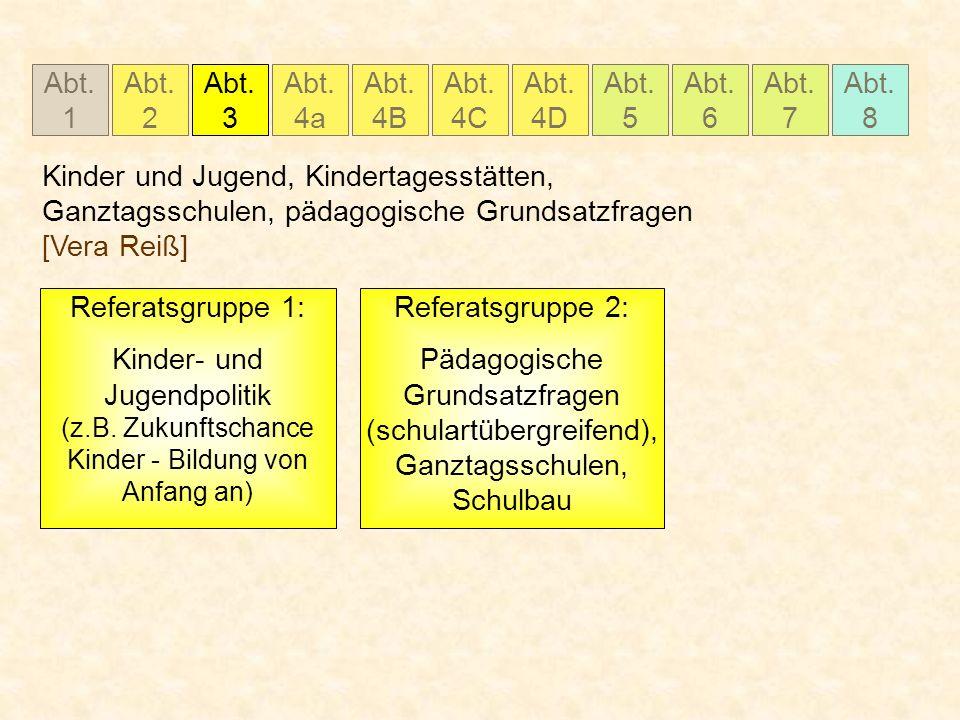 Abt. 1 Abt. 2 Abt. 3 Abt. 4a Abt. 4B Abt. 4C Abt. 5 Abt. 6 Abt. 7 Abt. 8 Abt. 4D Kinder und Jugend, Kindertagesstätten, Ganztagsschulen, pädagogische