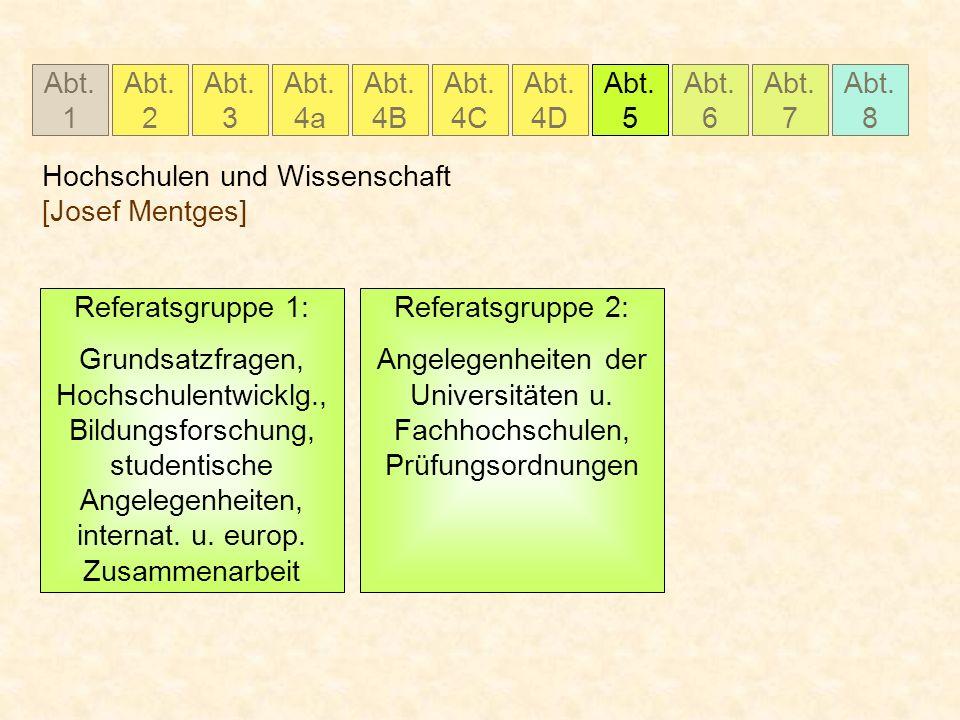 Abt. 1 Abt. 2 Abt. 3 Abt. 4a Abt. 4B Abt. 4C Abt. 5 Abt. 6 Abt. 7 Abt. 8 Abt. 4D Hochschulen und Wissenschaft [Josef Mentges] Referatsgruppe 1: Grunds