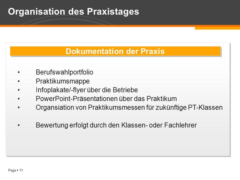 Page 11 Organisation des Praxistages Berufswahlportfolio Praktikumsmappe Infoplakate/-flyer über die Betriebe PowerPoint-Präsentationen über das Prakt