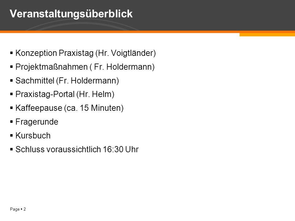 Page 2 Veranstaltungsüberblick Konzeption Praxistag (Hr. Voigtländer) Projektmaßnahmen ( Fr. Holdermann) Sachmittel (Fr. Holdermann) Praxistag-Portal