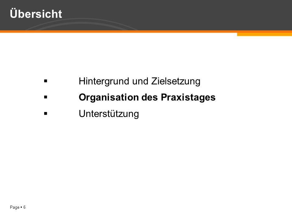 Page 6 Hintergrund und Zielsetzung Organisation des Praxistages Unterstützung Übersicht