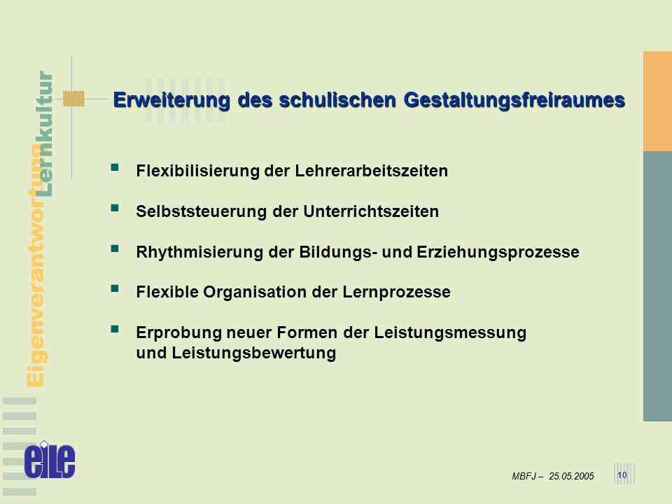 MBFJ – 25.05.2005 Eigenverantwortung Lernkultur MBFJ – 25.05.2005 Eigenverantwortung Lernkultur 10 Flexibilisierung der Lehrerarbeitszeiten Selbststeu