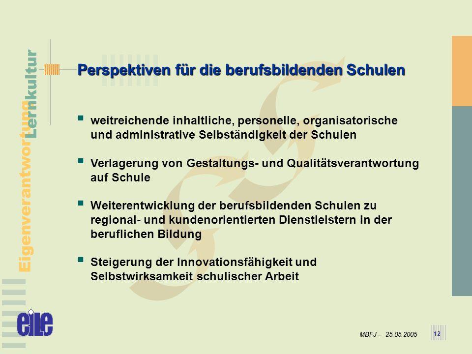 MBFJ – 25.05.2005 Eigenverantwortung Lernkultur MBFJ – 25.05.2005 Eigenverantwortung Lernkultur 12 Perspektiven für die berufsbildenden Schulen weitre