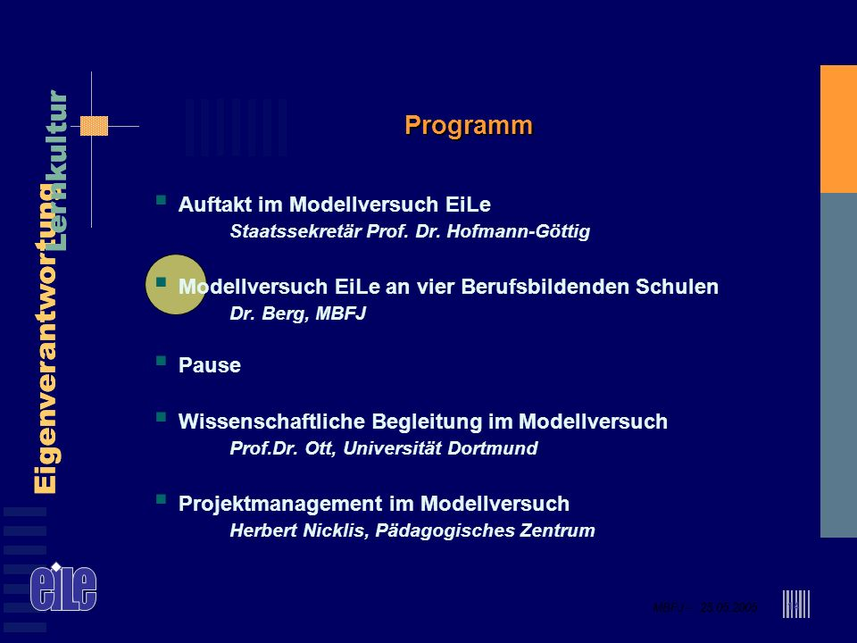 MBFJ – 25.05.2005 Eigenverantwortung Lernkultur MBFJ – 25.05.2005 Eigenverantwortung Lernkultur 14 Programm Auftakt im Modellversuch EiLe Staatssekretär Prof.